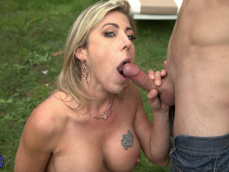 This hot MILF is fucking and sucking her gardner toy boy