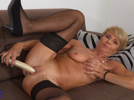 This naughty granny loves to masturbate when shes alone