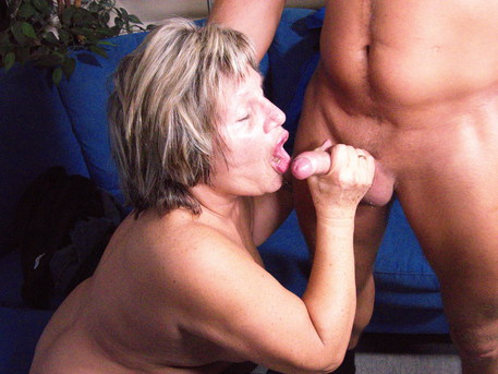 Naughty German grandma fucking and sucking her younger lover
