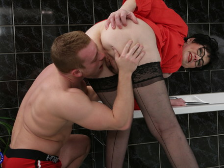 This toy boy gets caught in the bathroom by a horny houseiwife